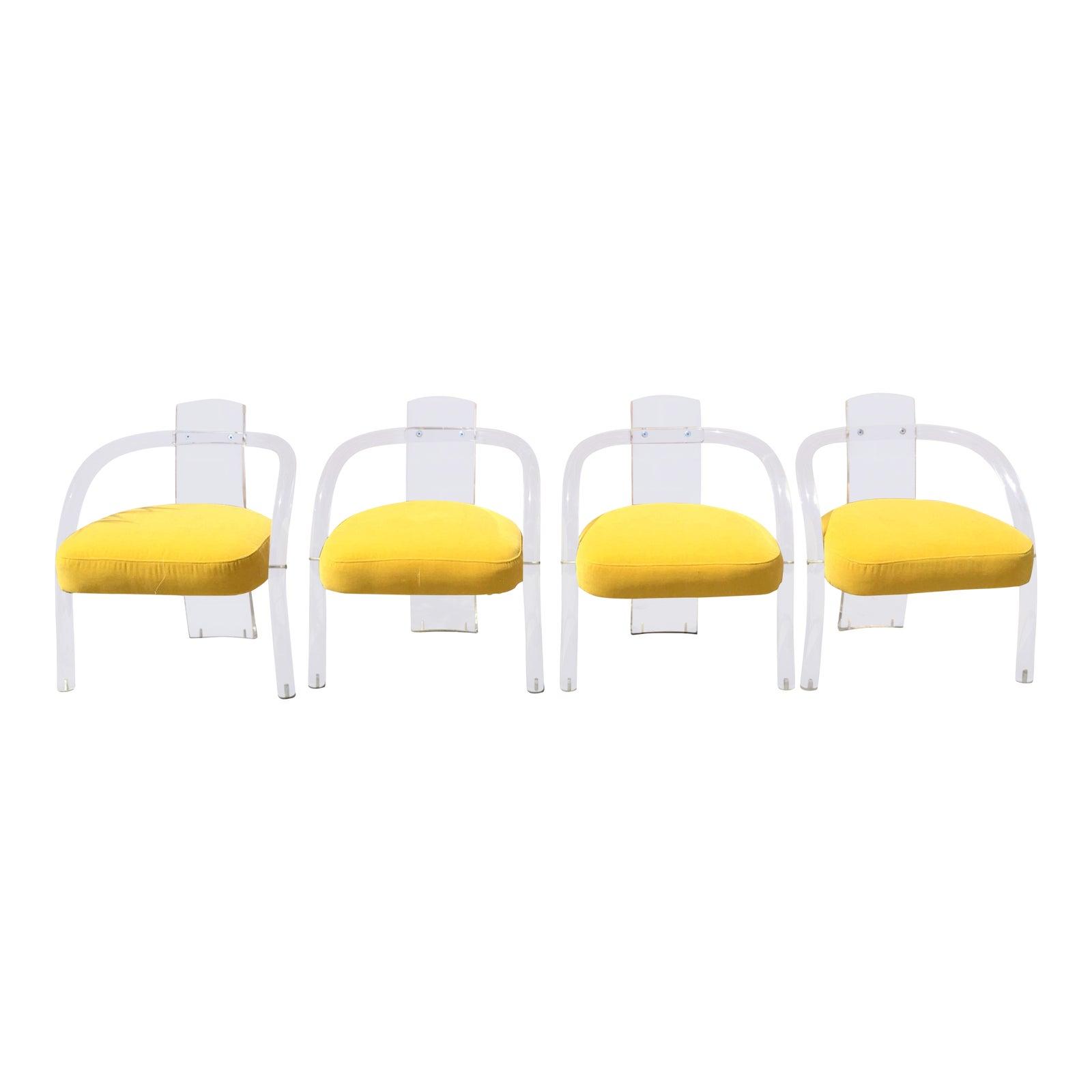 1970S Charles Hollis Jones Era Waterfall Tubular Lucite Chairs