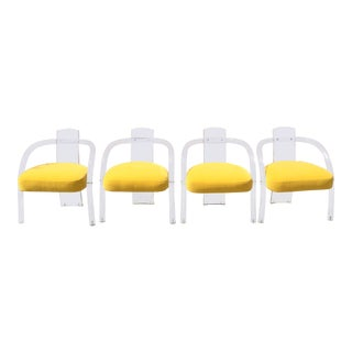 1970s Charles Hollis Jones Era Waterfall Tubular Lucite Chairs - Set of 4