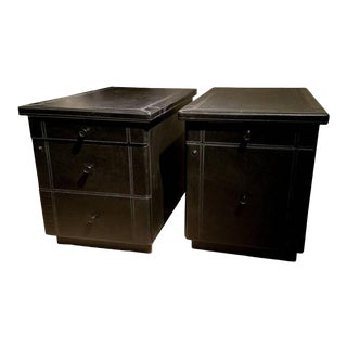 Pair of Guido Faleschini for Pace Leather File Cabinets For Sale