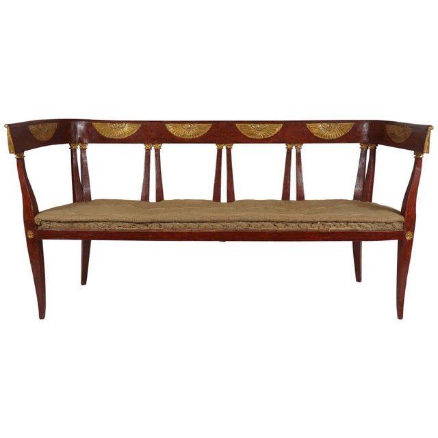 Italian 'Egyptian' Style Parcel Gilt and Painted Settee, Circa 1805 For Sale - Image 11 of 11