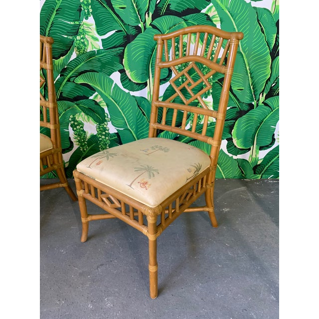 Boho Chic Vintage Rattan Dining Set Table and Four Chairs For Sale - Image 3 of 10