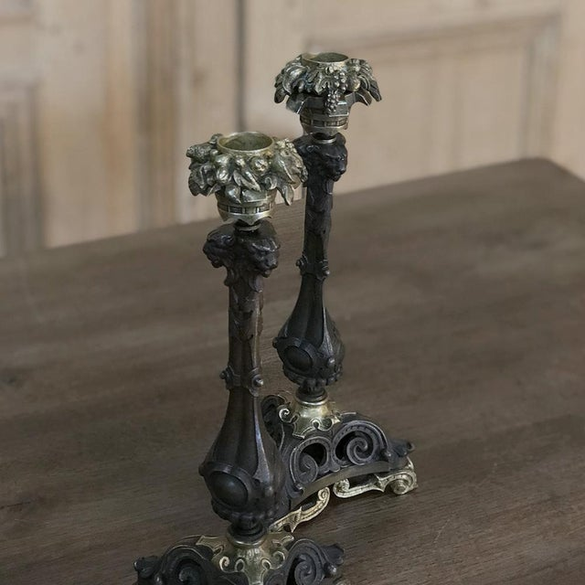 Pair of Napoleon III Period Bronze Candlesticks For Sale In Dallas - Image 6 of 11