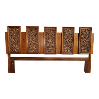 Vintage Spanish Style Ornately Carved King Headboard For Sale