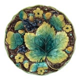 Image of C.1850 English Majolica Grapes Plate Samuel Alcock For Sale