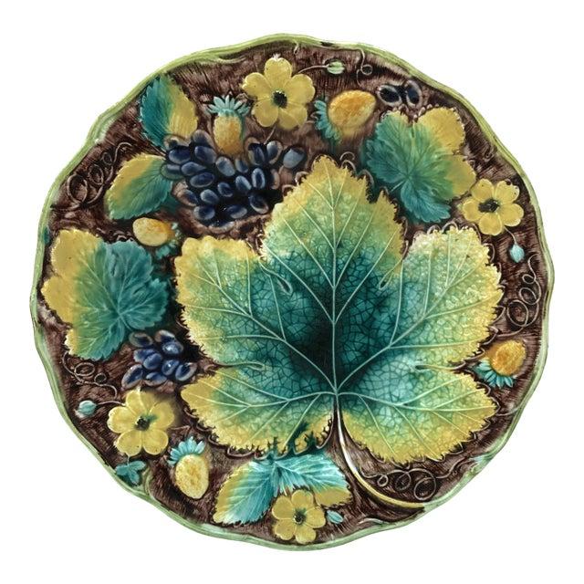 C.1850 English Majolica Grapes Plate Samuel Alcock For Sale