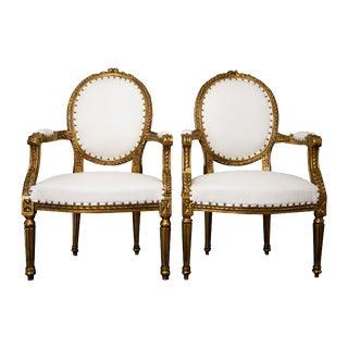 Louis XVI White Chairs - a Pair For Sale