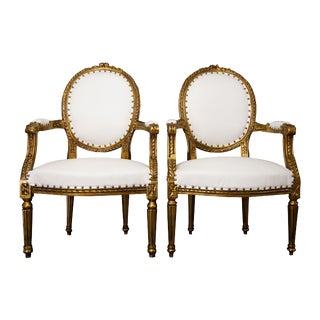 Vintage Mid Century Ornate Louis XVI White Chairs - A Pair For Sale