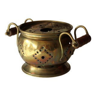 1950s Brass Tea Warmer With Wooden Handles For Sale