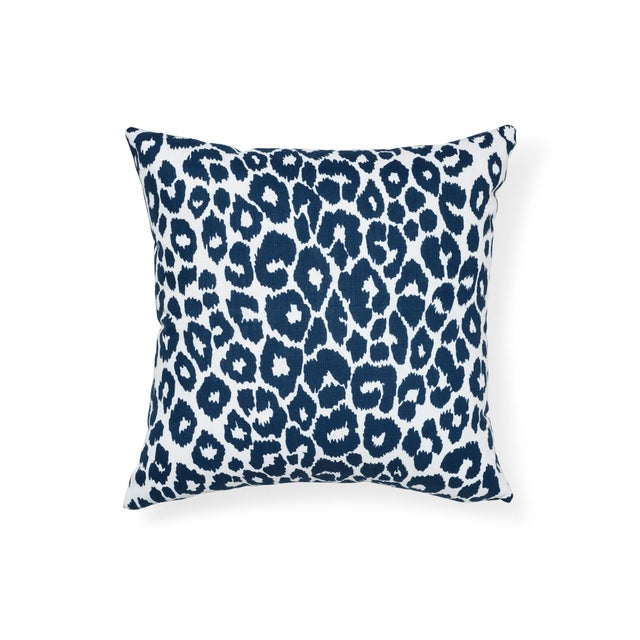 Acrylic Schumacher Iconic Leopard Indoor/Outdoor Pillow in Navy For Sale - Image 7 of 7