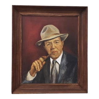 """Mid Century Oil Portrait """"Man W/ Pipe"""" by Helen Burke C.1955 For Sale"""
