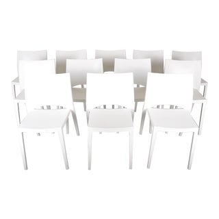 Vintage Set of 12 Modern French Stackable Polypropylene White Dining Chairs For Sale