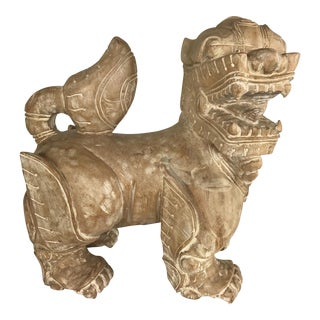 1980s Chinese Carved Wooden Foo Dog Statue For Sale