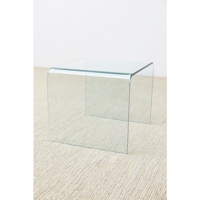Pair of Angelo Cortesi Glass Waterfall Nesting Drink Tables For Sale - Image 12 of 13