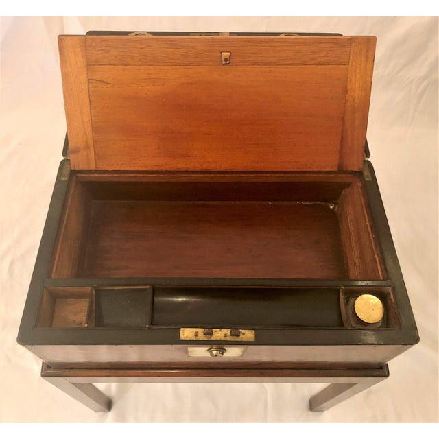 Antique English Mid 19th Century Mahogany Writing Box on Stand. For Sale - Image 4 of 6