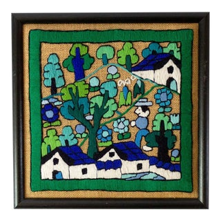 Folk Art Hand Embroidery Textile Art For Sale