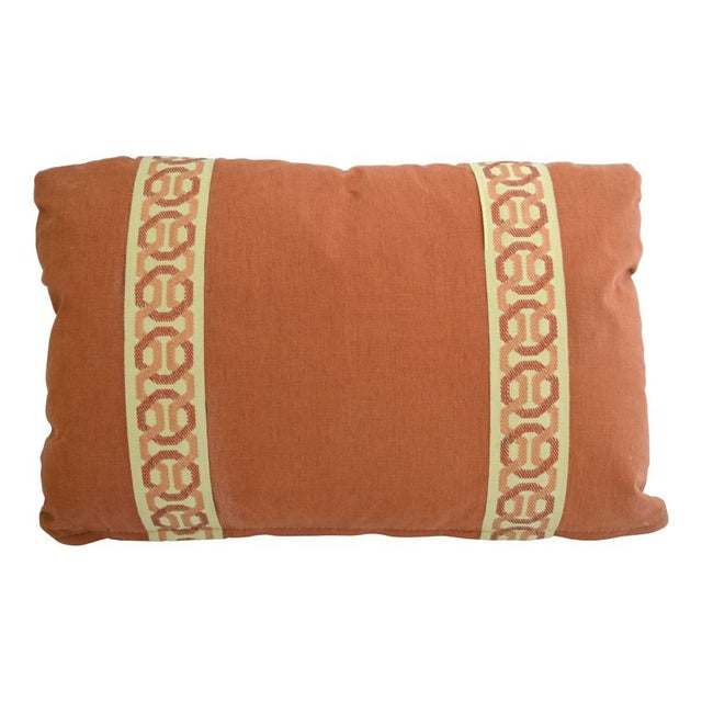 14 x 20 Rust Lumbar Pillow with Kravet Accent Tape - Image 1 of 4