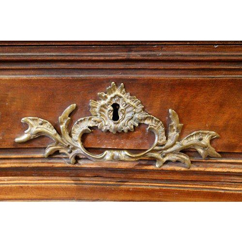 18th Century Bordeaux Louis XV Period Carved Walnut Bombé Commode - Image 6 of 10