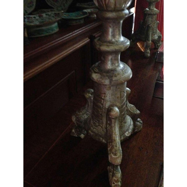 Pair of Silver Leaf Italian Prickets For Sale In Savannah - Image 6 of 6
