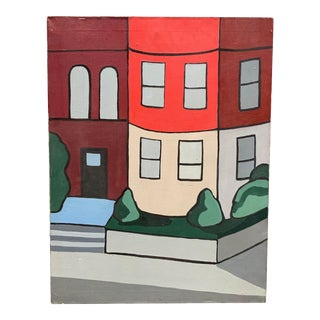 1970s Modernist Building Facade Painting For Sale