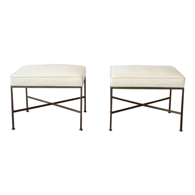 Paul McCobb for Directional X-Base Brass and Upholstered Stools or Benches, Pair For Sale