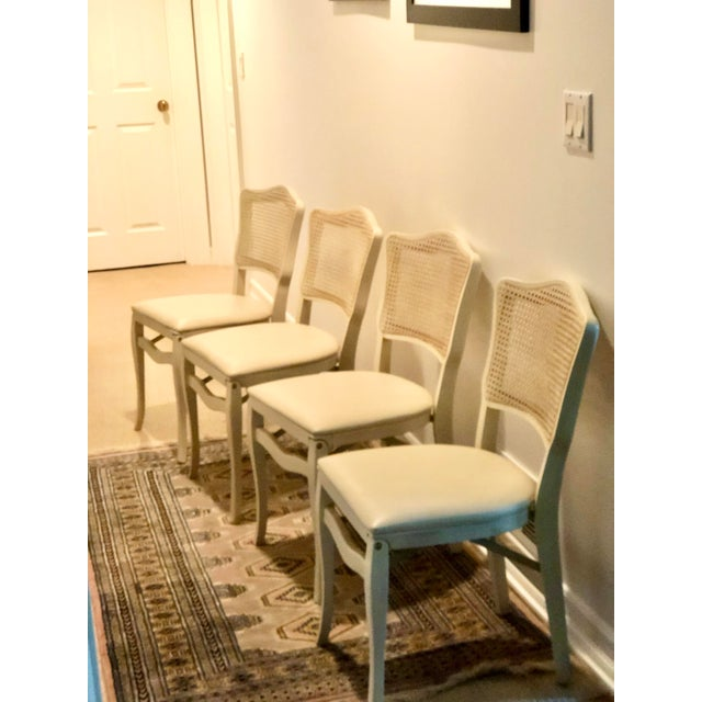 Mid 20th Century Caned Backed Neutral Colored Stackmore Folding Chairs - Set of 4 For Sale - Image 5 of 12