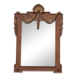 Faux Grain & Giltwood Neoclassical Style Mirror For Sale