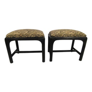 Black Woven Wicker Low Stools - A Pair For Sale
