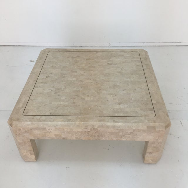 Metal Art Deco Maitland Smith Tessellated Stone Coffee Table For Sale - Image 7 of 13