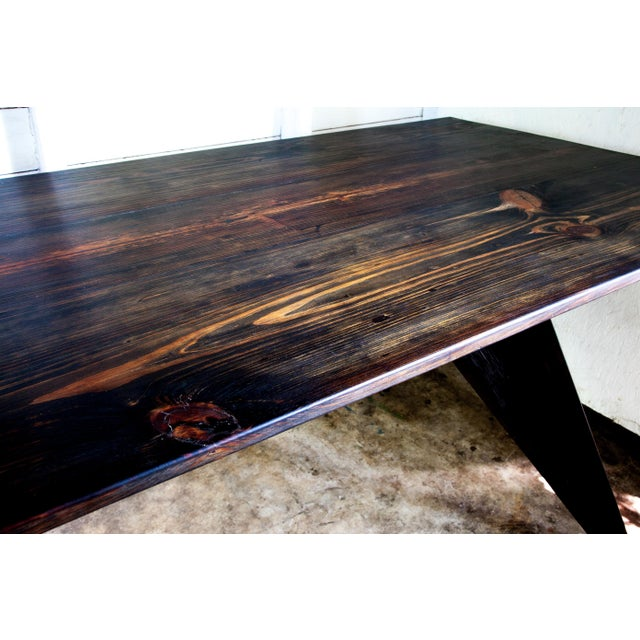 """Black Prouve Style Artisan Made Em Solvay Black Dining Conference Table - Black Brown 80"""" For Sale - Image 8 of 11"""
