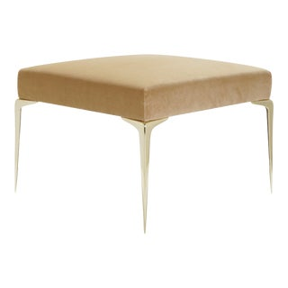Colette Brass Ottoman in Camel Velvet by Montage For Sale