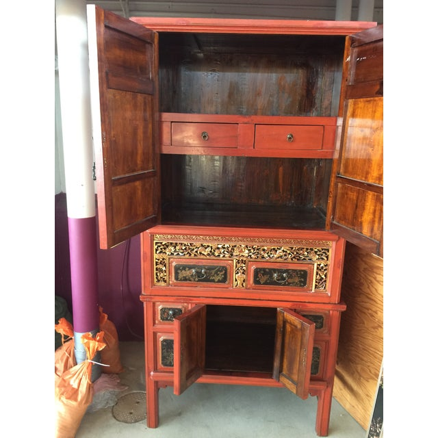 Antique Carved Asian Red Lacquer Cabinet For Sale In San Francisco - Image 6 of 11