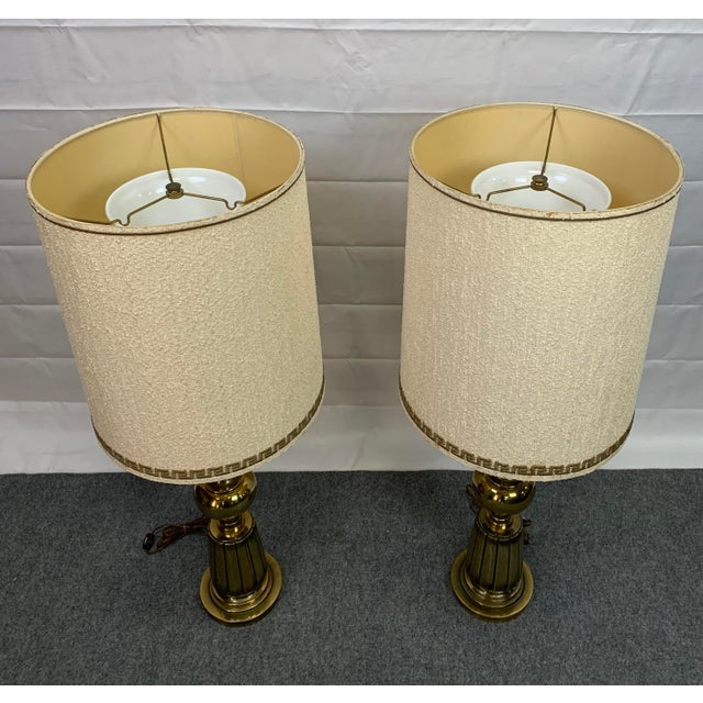 Brass 1960s Brass Stiffel Table Lamps With Glass Diffusers and Shades - a Pair For Sale - Image 8 of 11