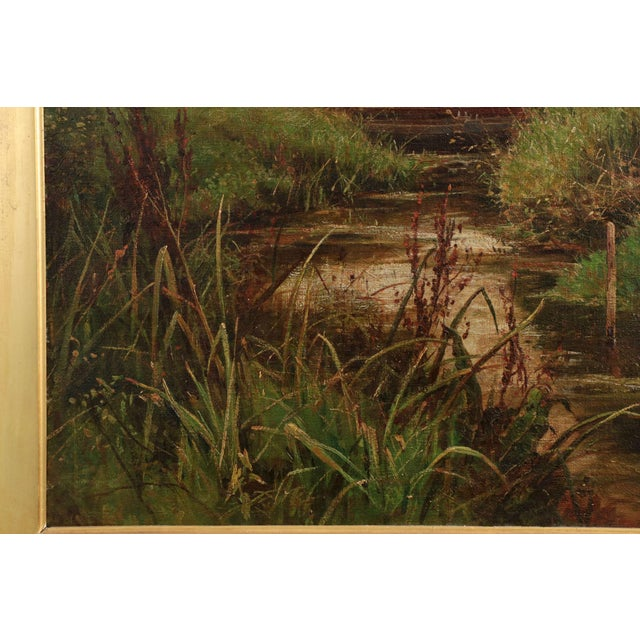 19th Century Landscape Painting of Bridges over Stream by Clarence Roe - Image 7 of 10