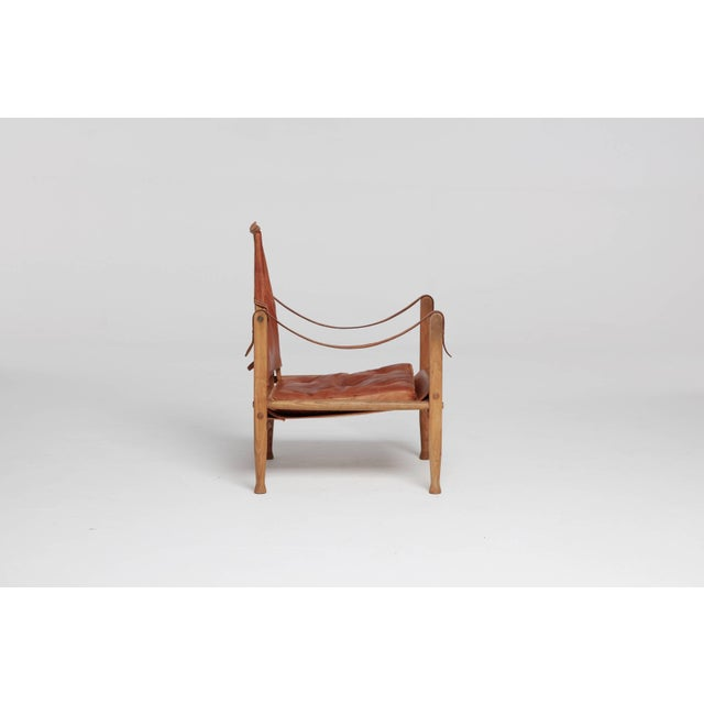 Mid-Century Modern Kaare Klint Safari Chair in Patinated Tan Leather, Rud Rasmussen, Denmark, 1960s For Sale - Image 3 of 8