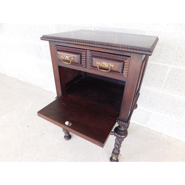 Wood Antique Spanish Baroque Style Mahogany Nightstand End Table For Sale - Image 7 of 13