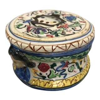 Early 20th Century Italian Majolica Round Lidded Box For Sale