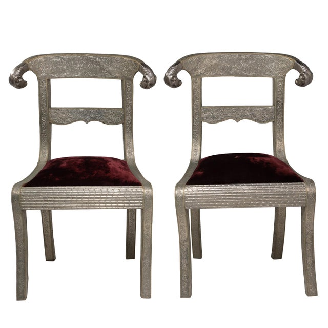 Glam Pair of Anglo Indian Regency Style Rams Head Side Chairs For Sale - Image 13 of 13