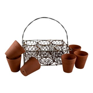 English Divided Wire Caddy W/ Staffordshire Terracotta Herb Pots