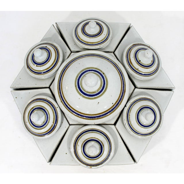 For your consideration is a gorgeous set of seven ceramic containers, that fit into each other to form a hexagon, signed...