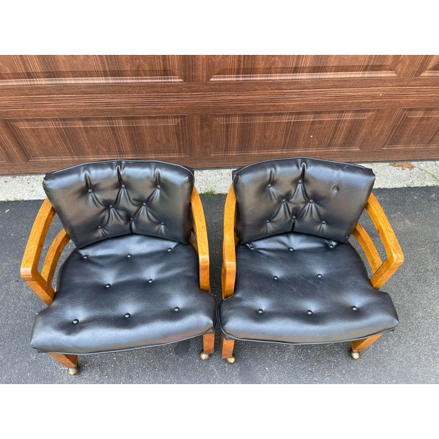 Drexel 1970s Vintage Drexel Exposed Wood Frame Club Chairs For Sale - Image 4 of 9