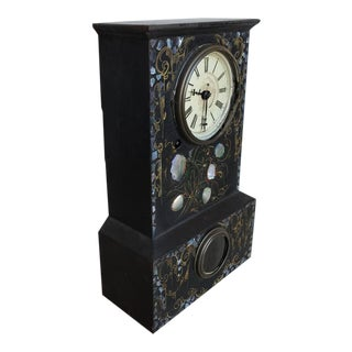 19th Century Iron Clock with Mother-of-Pearl Inlay