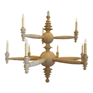 Paul Marra Spool Chandelier Two Tier in Driftwood For Sale