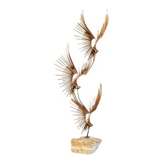 "1990s Curtis Jere ""Birds in Flight"" Signed Metal Sculpture For Sale"