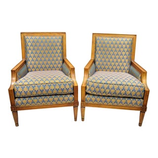 Baker French Regency Neoclassical Style Bergere Directoire Armchairs - a Pair For Sale