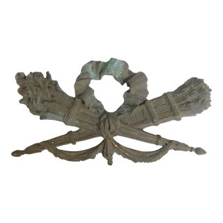 French Neoclassical Crossed Torch Element For Sale