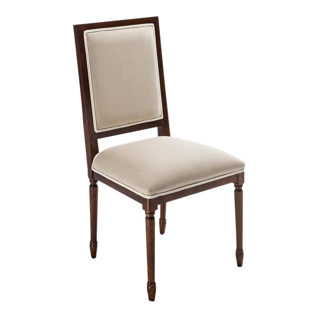 Sarried Ltd Square Back Giogoli Flax Side Chair For Sale