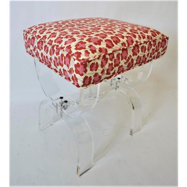 Mid-Century Modern Charles Hollis Jones Lucite Stool Bench With New Upholstery Fantasy Leopard Motif For Sale - Image 12 of 12