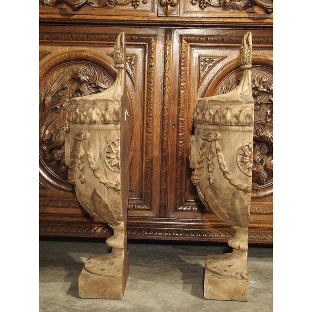 Beige Pair of Neoclassical Style Carved Wooden Half Urns From England For Sale - Image 8 of 11