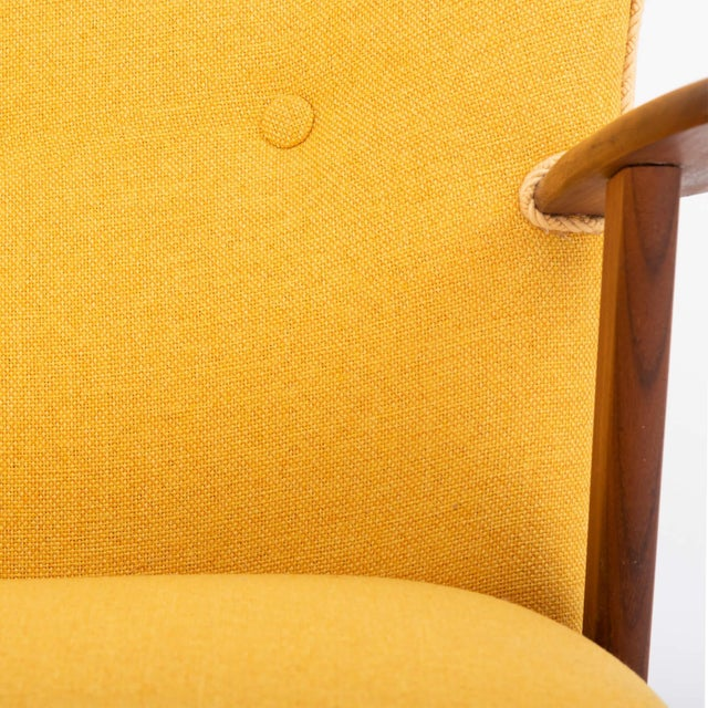 Cocktail Chair Re-Upholstered in Yellow Fabric in the Style of Kurt Olsen, 1950s For Sale - Image 6 of 7