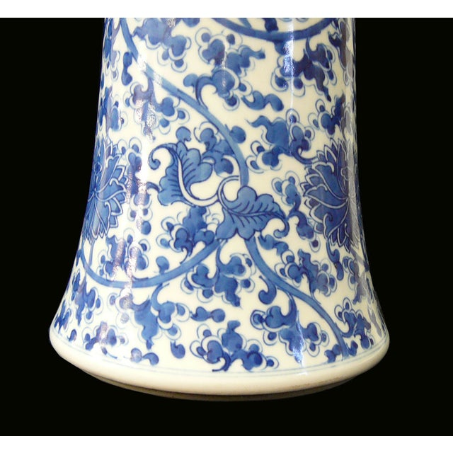 Chinese Vintage Blue & White Flower Porcelain Vase - Image 7 of 8